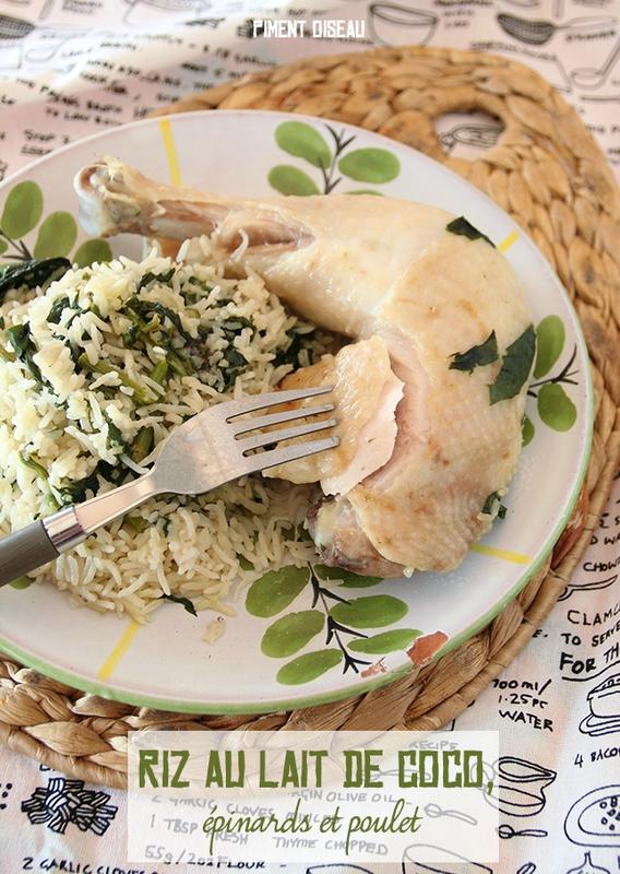 recette au rice cooker 1 riz au lait de coco pinards et poulet piment oiseau. Black Bedroom Furniture Sets. Home Design Ideas